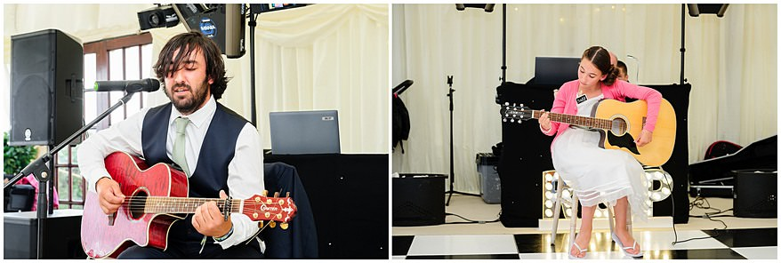 Guitarist in a marquee at St Mawes Castle