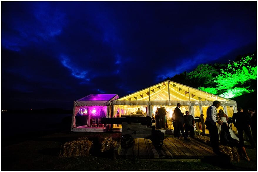 Hatch wedding marquee at St Mawes Castle
