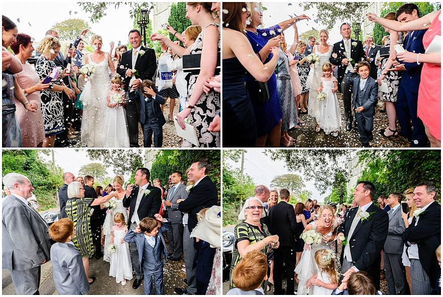 Wedding confetti photographs outside St Mewan Church