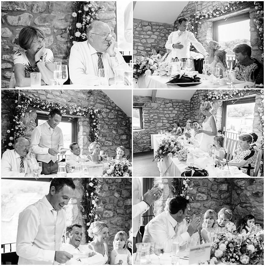Wedding speeches at a Knightor winery wedding