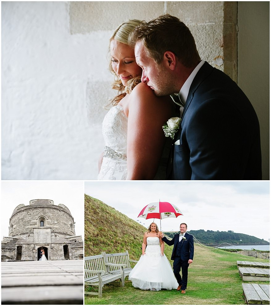 Wet wedding at St Mawes Castle