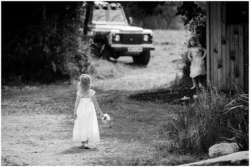 flowergirl playing at a Knightor vinery wedding