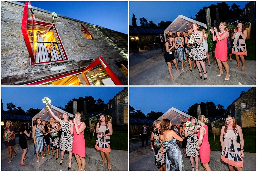 throwing of the bouquet at Knightor vinery wedding