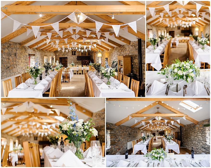 wedding tables set up at a Knightor vinery wedding