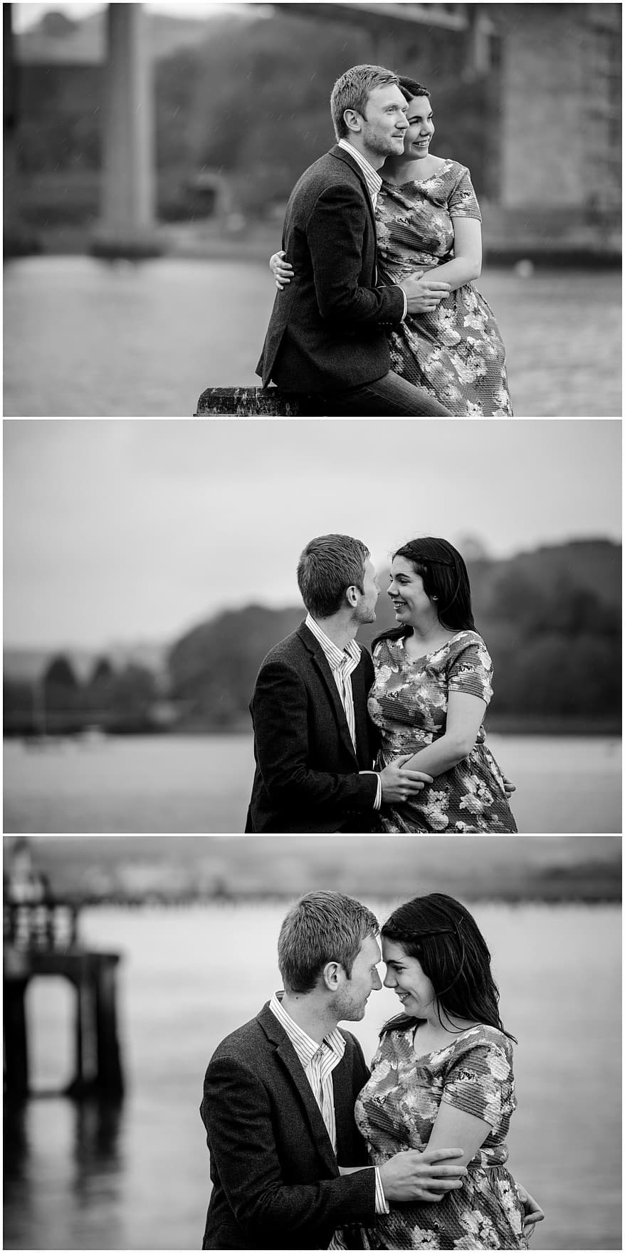 engaged couple enbraced on the pier in Saltashr