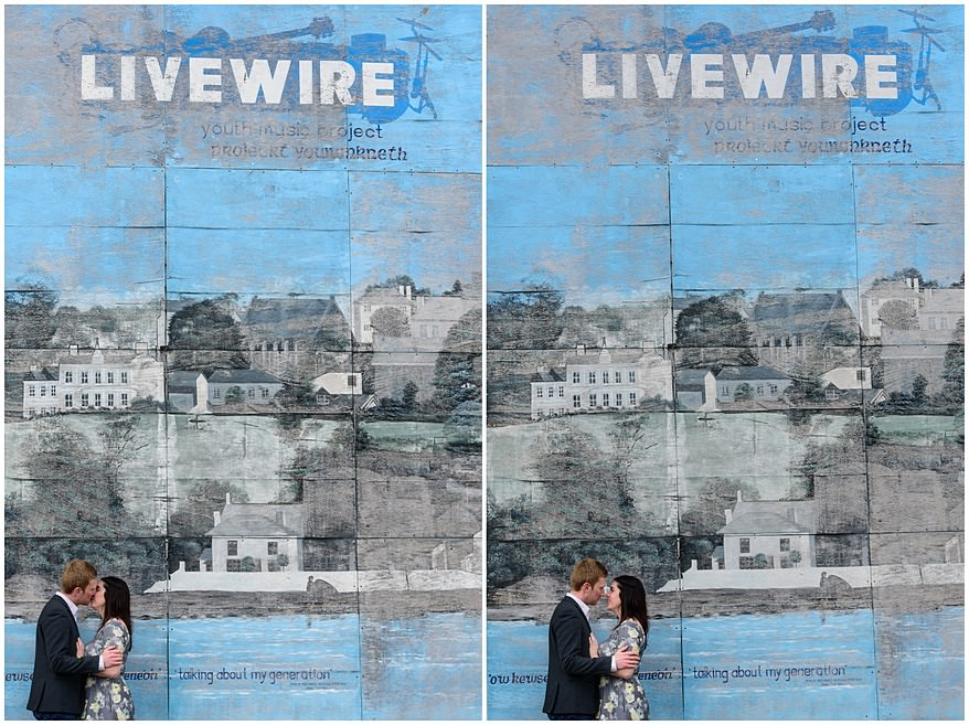 Engagement shoot infront of the Livewire billboard in Saltash
