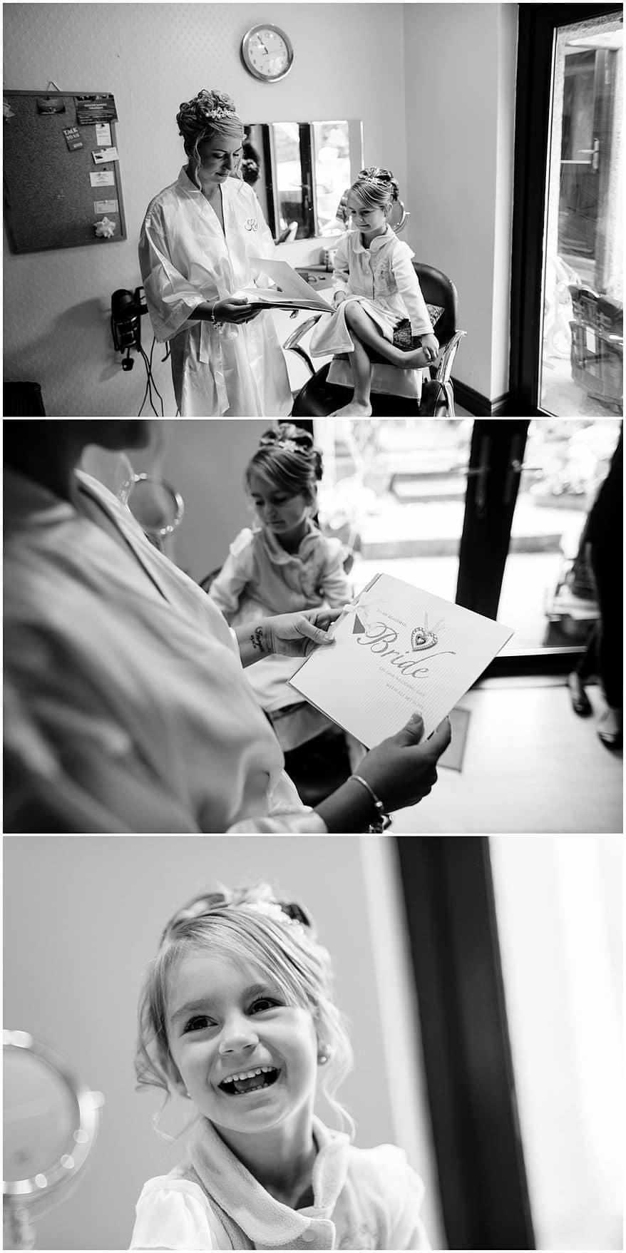 Bride & flower girl getting ready for a wedding at the Greenbank Hotel wedding