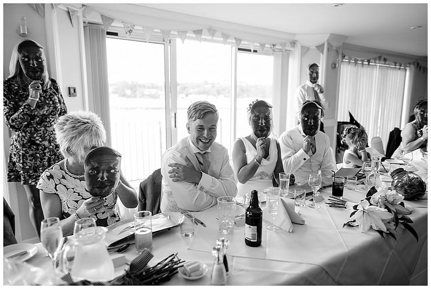 Groom laughing at the bestmans speech at the Greenbank hotel