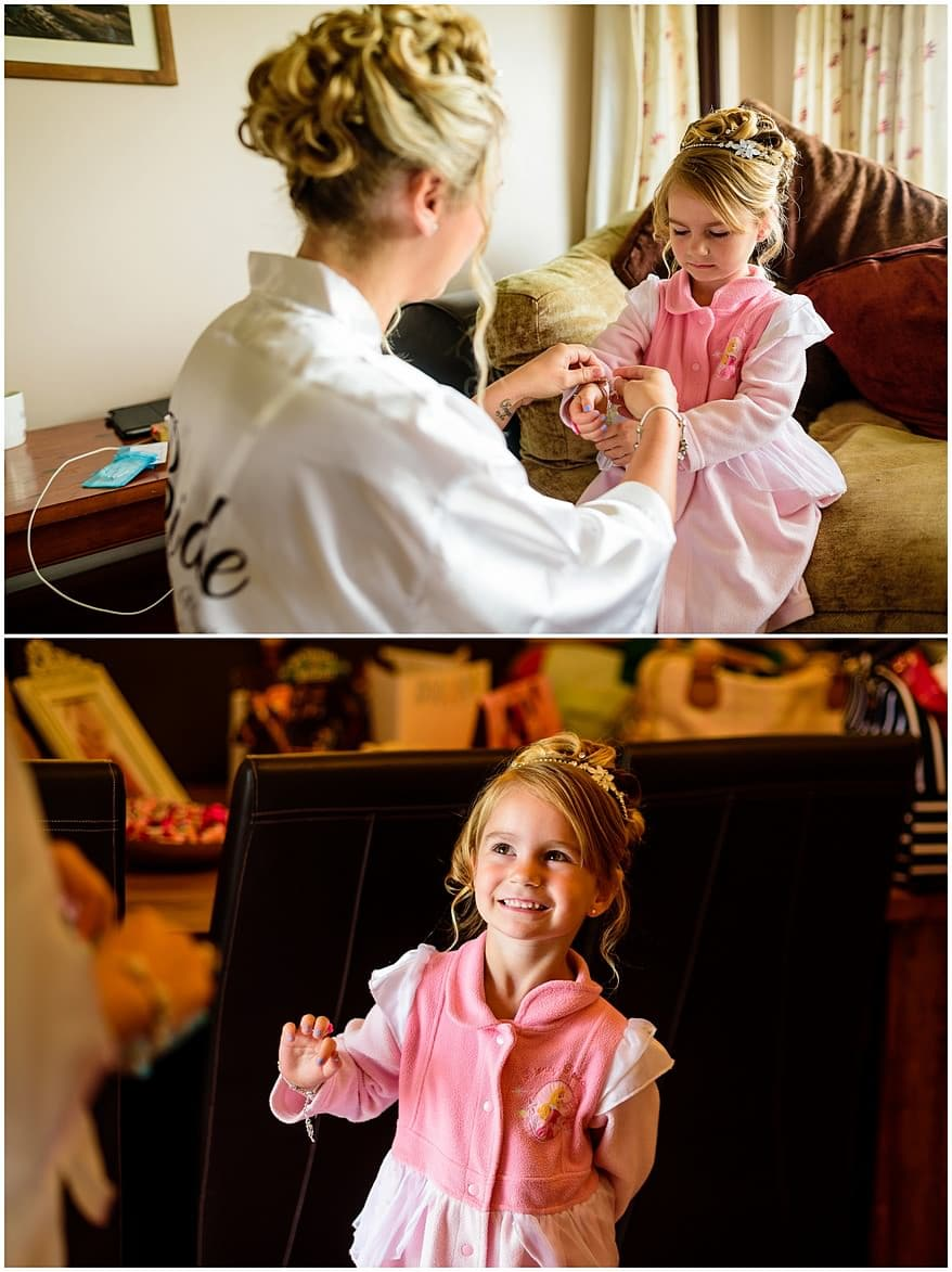 Flower girl getting ready for her mum's wedding at the Greenbank Hotel wedding