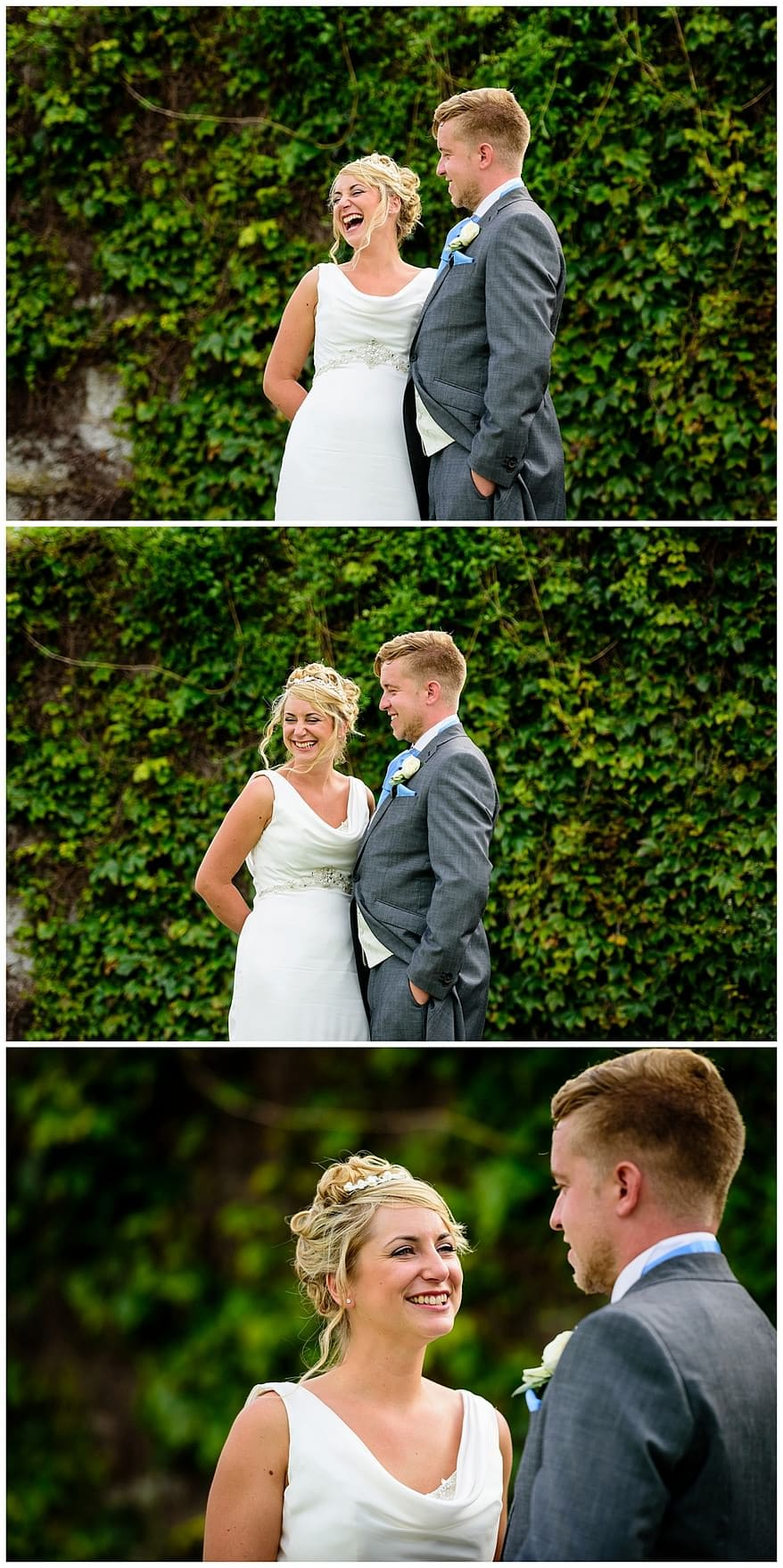 bride and groom at the gardens next to the greenbank hotel