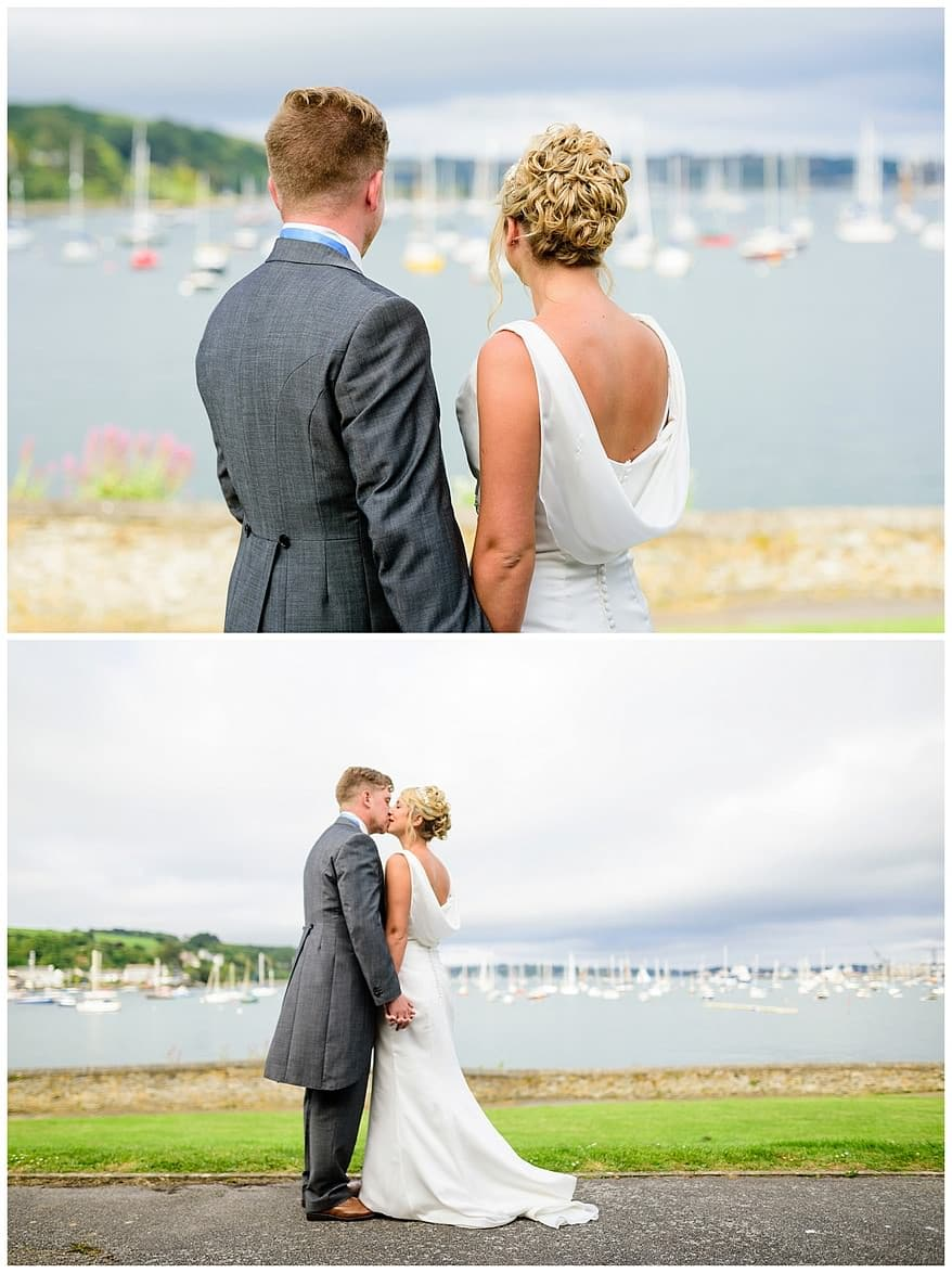 bride and groom looking at the view from the Greenbank hotel