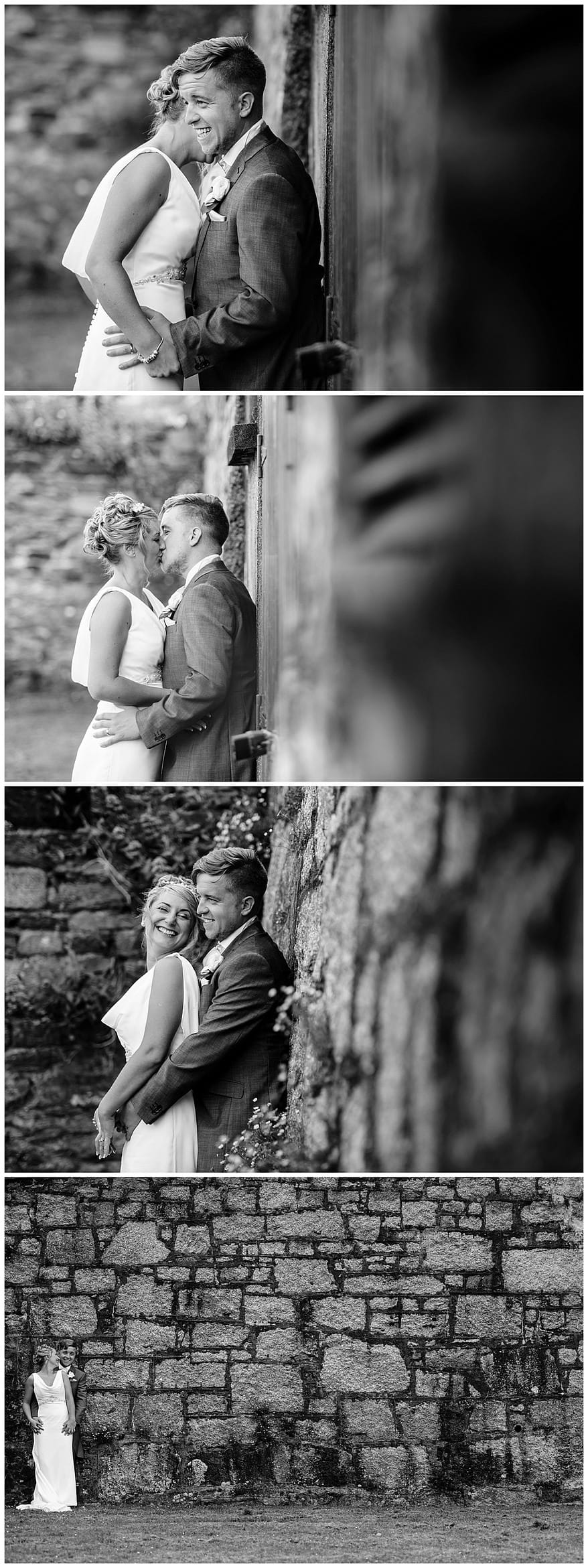 black and white photos of the bride and groom at the greenbank hotel
