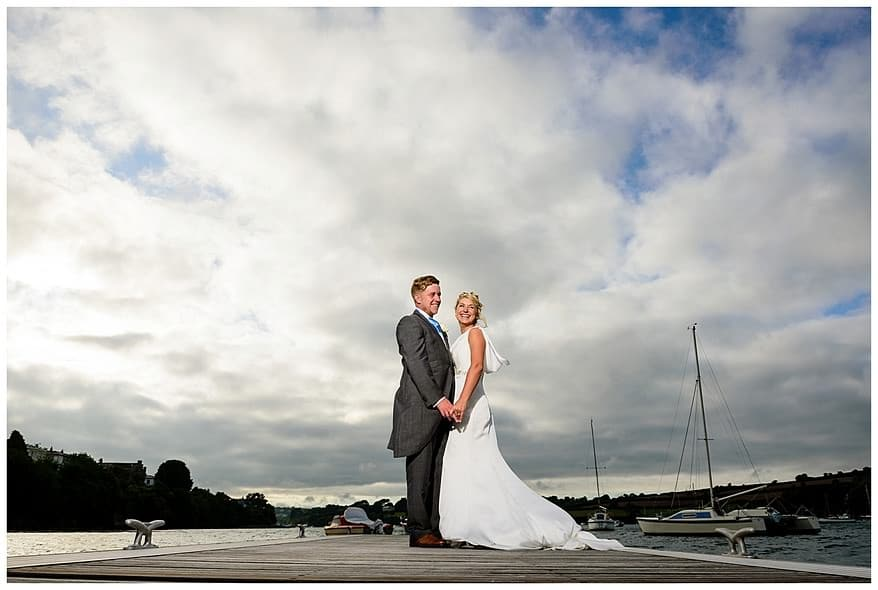 Bride and groom on the new greenbank hotel pontoons