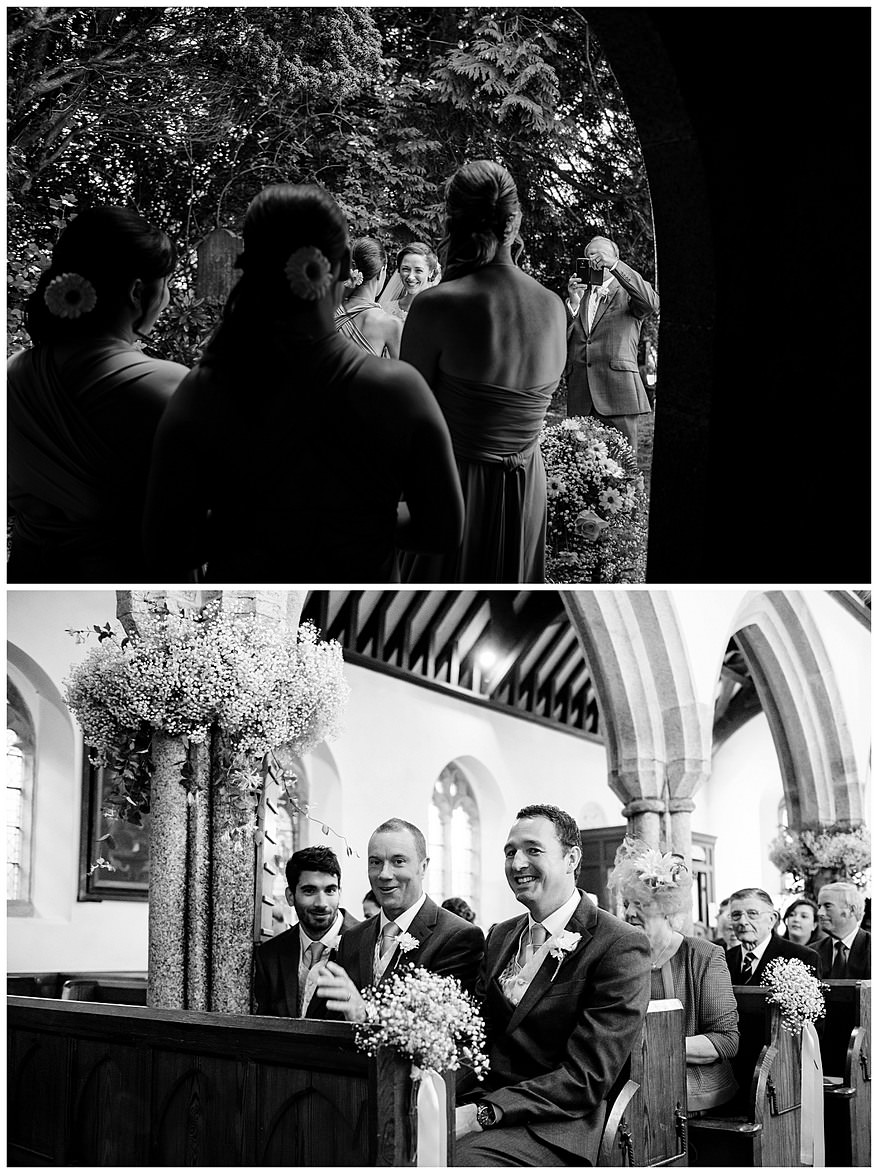 Groomsmen waiting for the bride at Perranwell church