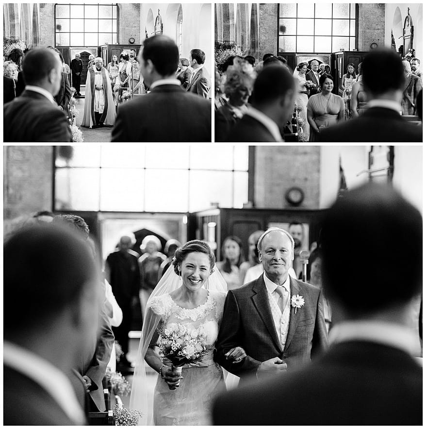 Bride walking down the aisle at Perranwell church