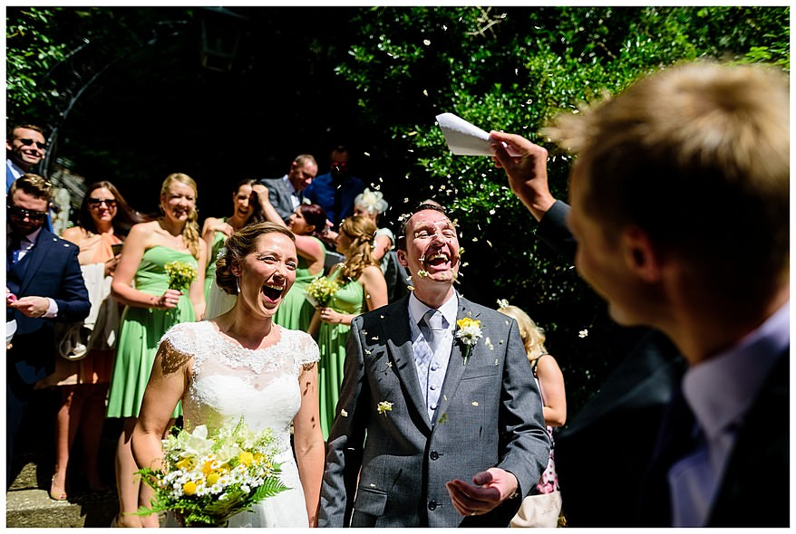 Candid wedding photography at Perranwell Church