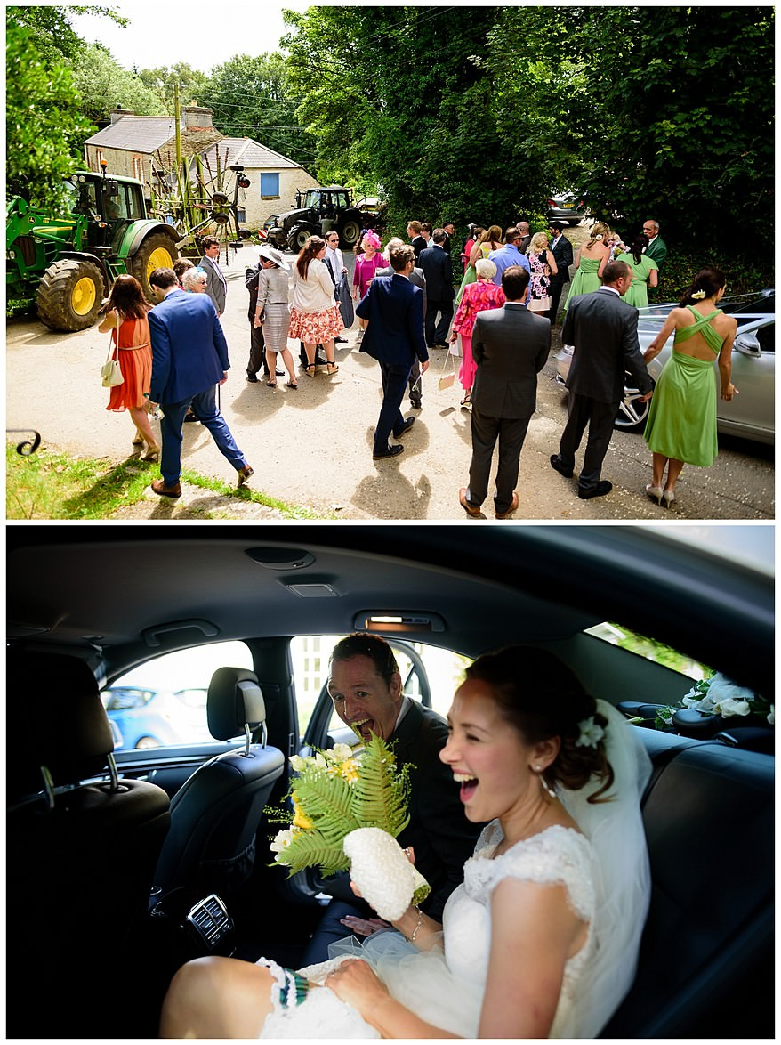 Wedding tractors at Perranwell Church