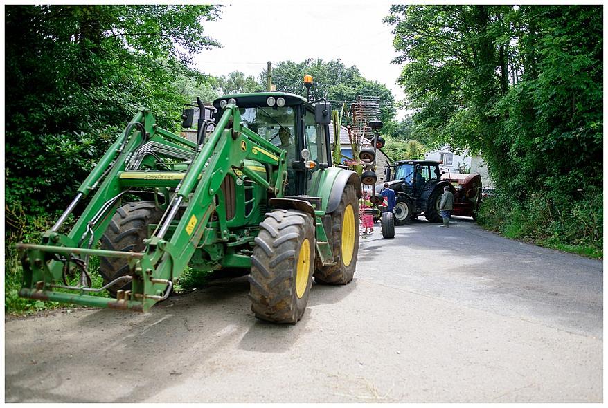 Tractors at a Perranwell Church Wedding