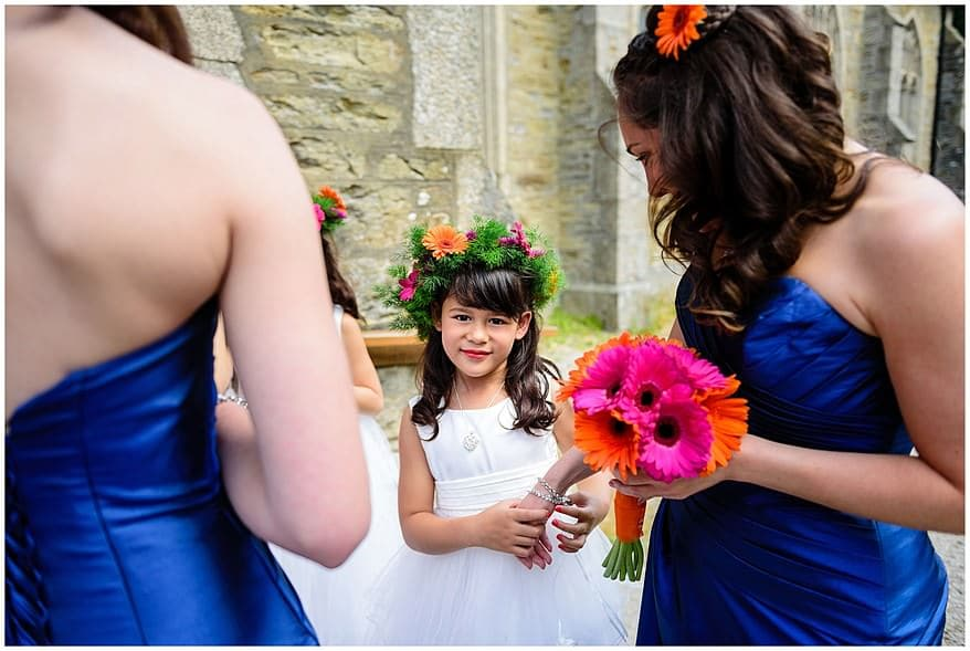flower girls at a Somoan themed wedding
