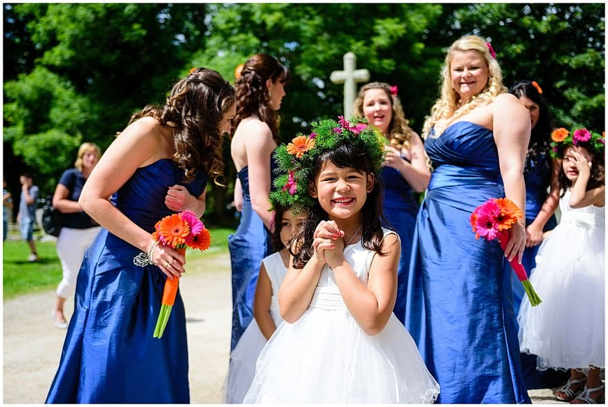 Bridesmaids and flowergirls at a somoan themed wedding