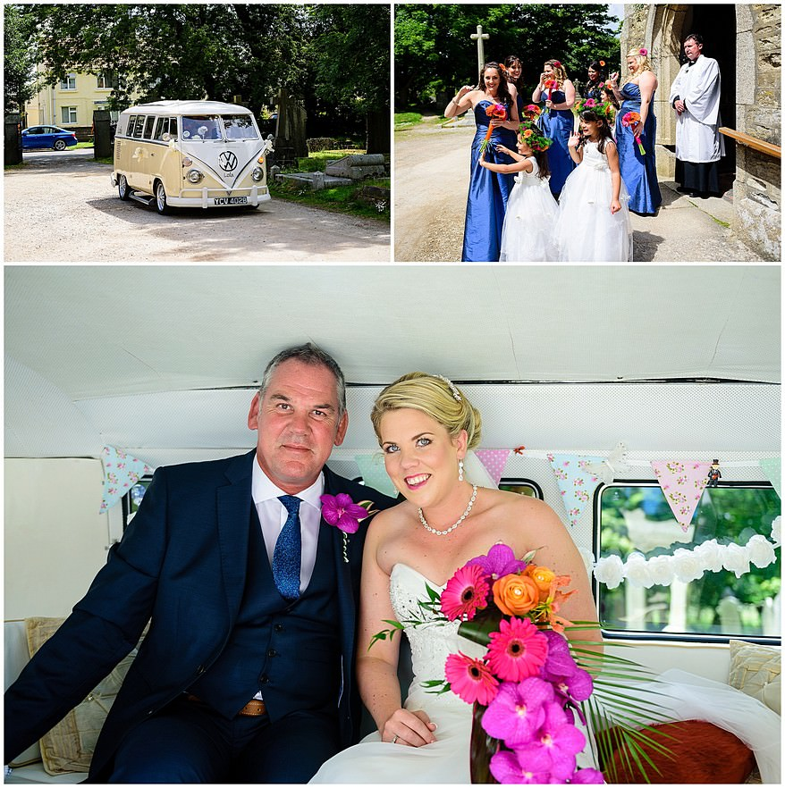 Bride and her father just before the wedding ceremony at Illogan church