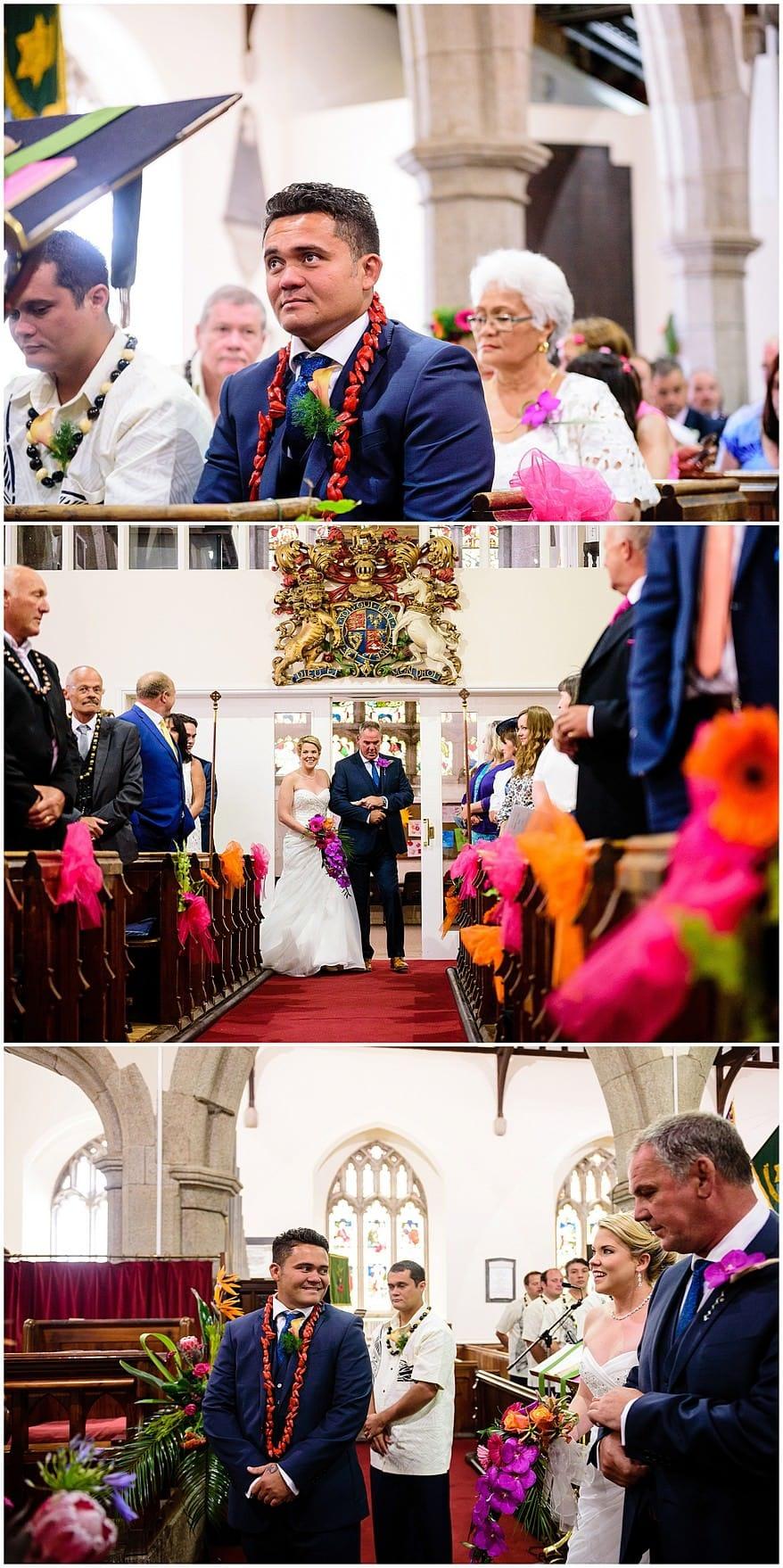 Bride walking down the aisle at Illogan church