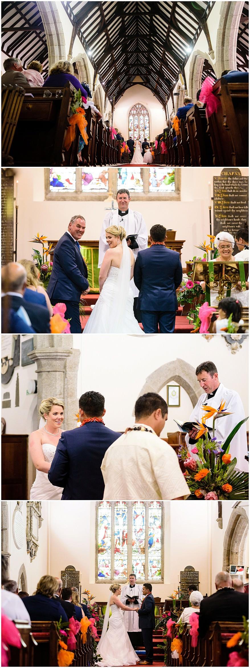 wedding at Illogan church in Cornwall