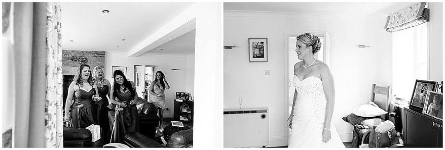 Bride getting ready with her bridesmaids for her wedding at the Merchants manor hotel