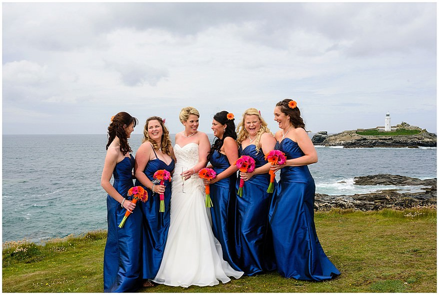 Bride and bridesmaids wedding photographs at Godrevy