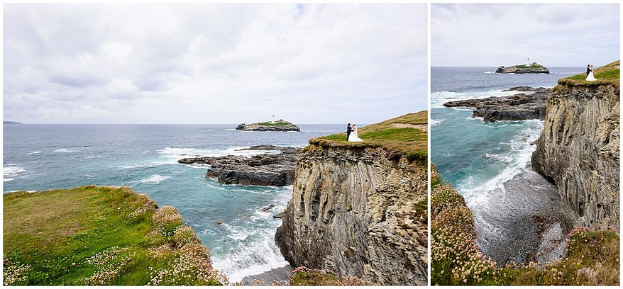 Wedding photographs on the cliffs of Godrevy