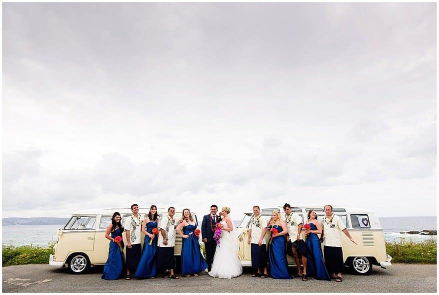 Bridal party wedding photographs at Godrevy beach