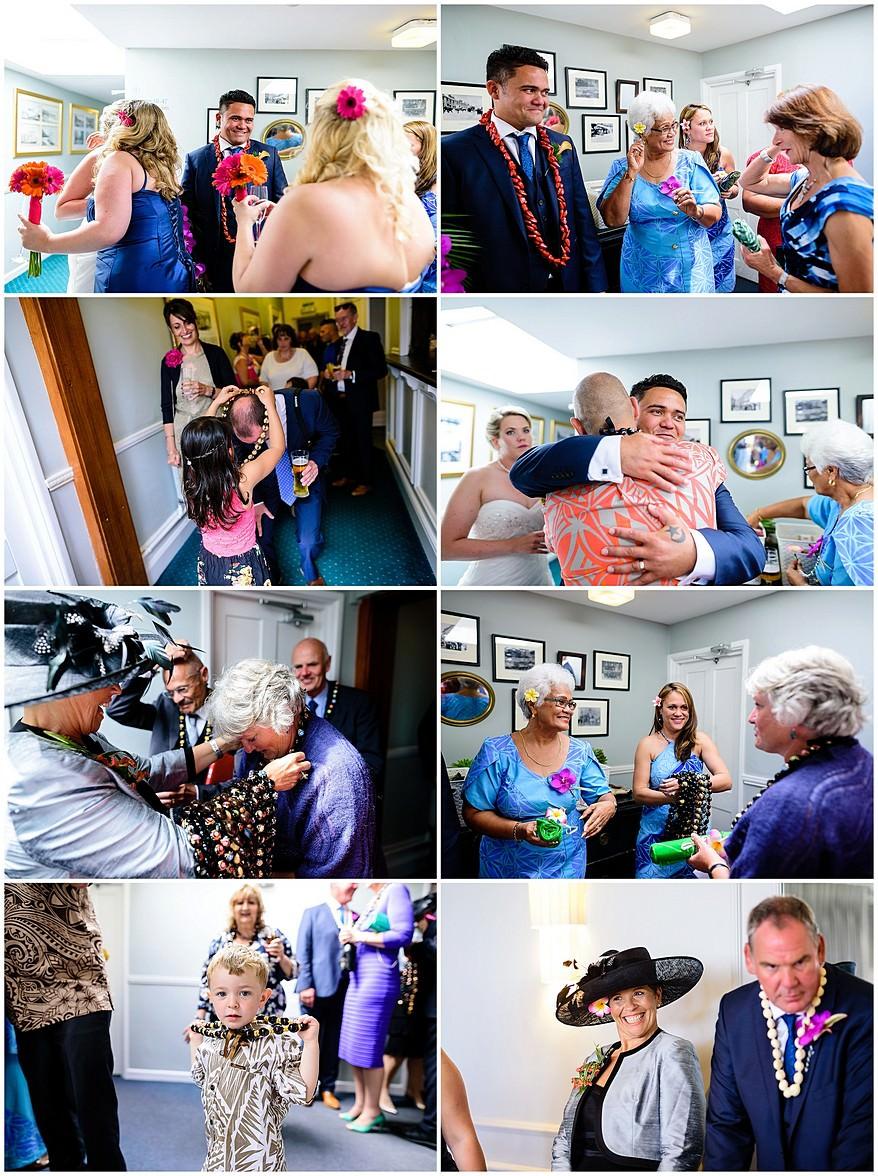 Samoan Wedding line up at the Merchants manor in Cornwall
