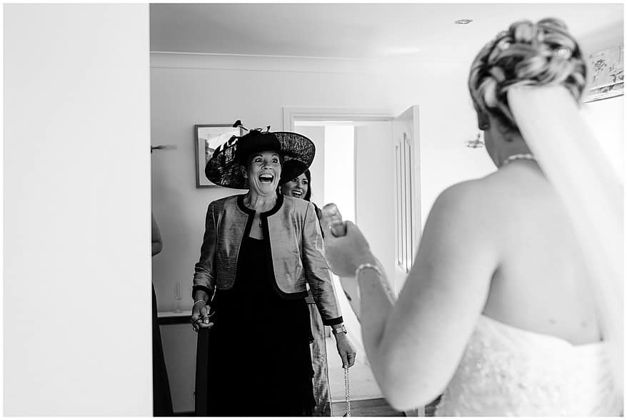 big smiles from the brides mum at a wedding at Merchants manor in falmouth