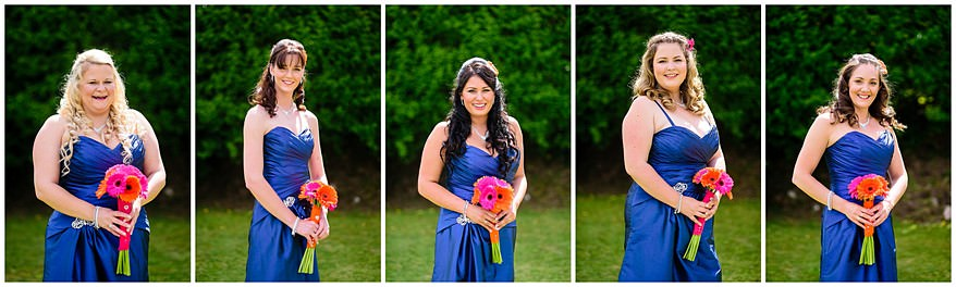 Blue themed bridesmaids dressed at the merchants manor