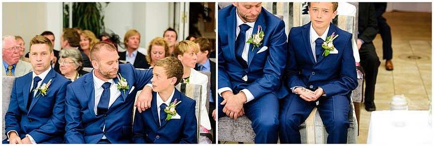 Groom waiting for his bride at their wedding at the carbis bay hotel