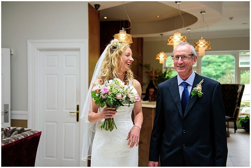 Dad walking down the aisle with the bride at Carbis Bay hotel