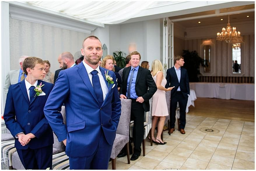 Groom waiting for the bride at the carbis bay hotel