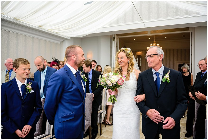 Wedding ceremony at the carbis bay hotel in St Ives