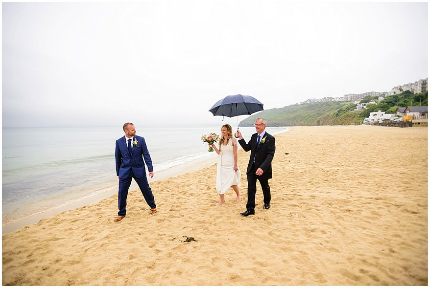rainy wedding at the carbis bay hotel