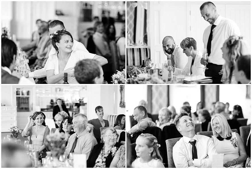 candid photographs of the wedding guests at the carbis bay hotel