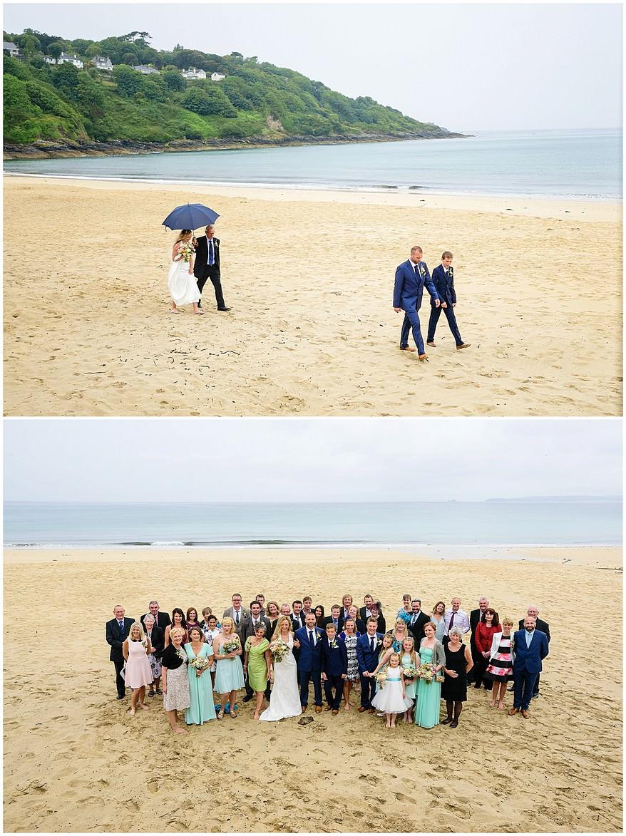 formal group photographs on carbis bay beach