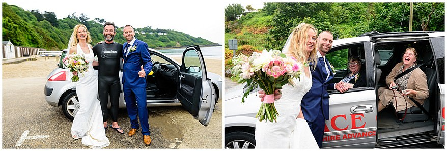 candid wedding photographs on the beach at carbis bay hotel