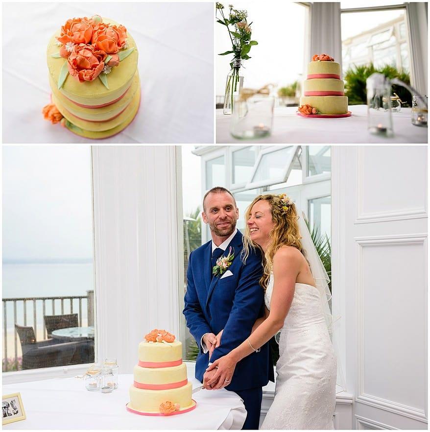 Wedding cake at a wedding at carbis bay hotel
