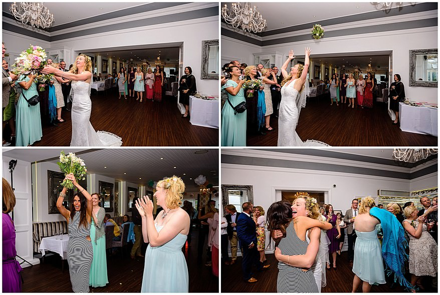 throwing of the bouquet at a carbis bay hotel wedding