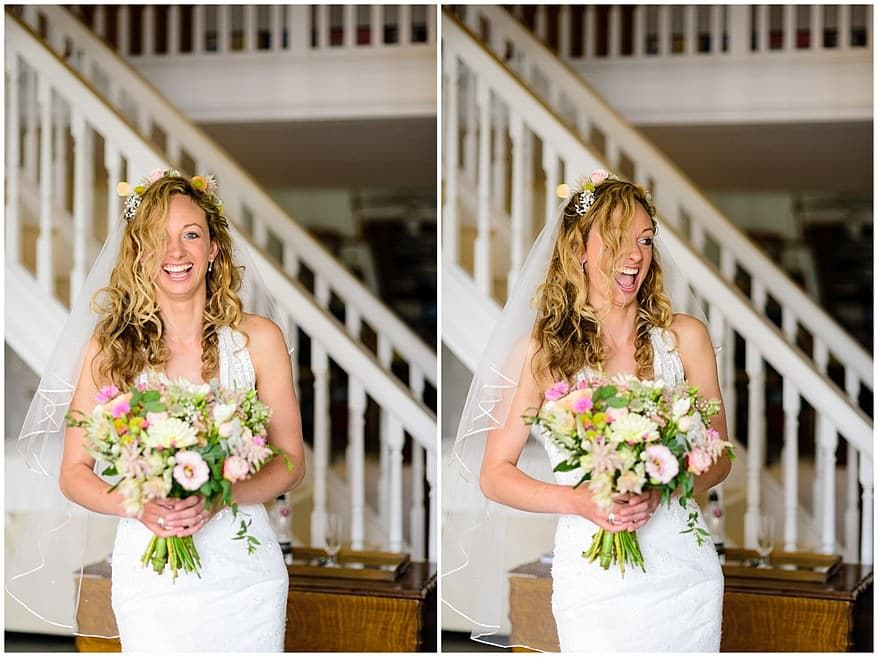 Happy bride waiting to get married at the carbis bay