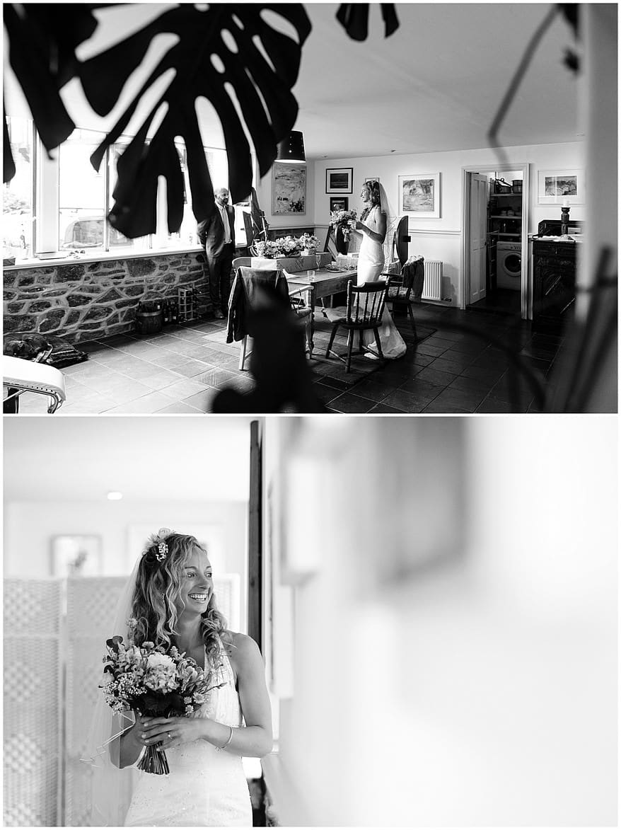 Black & white photograph of the bride getting ready for her wedding at the carbis bay hotel