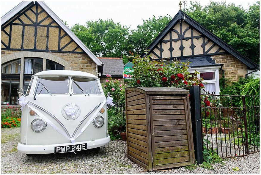 Vw campervan taking the bride to Carbis Bay Hotel