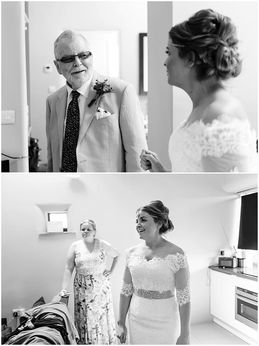Bride and her father getting ready at Trevenna barns