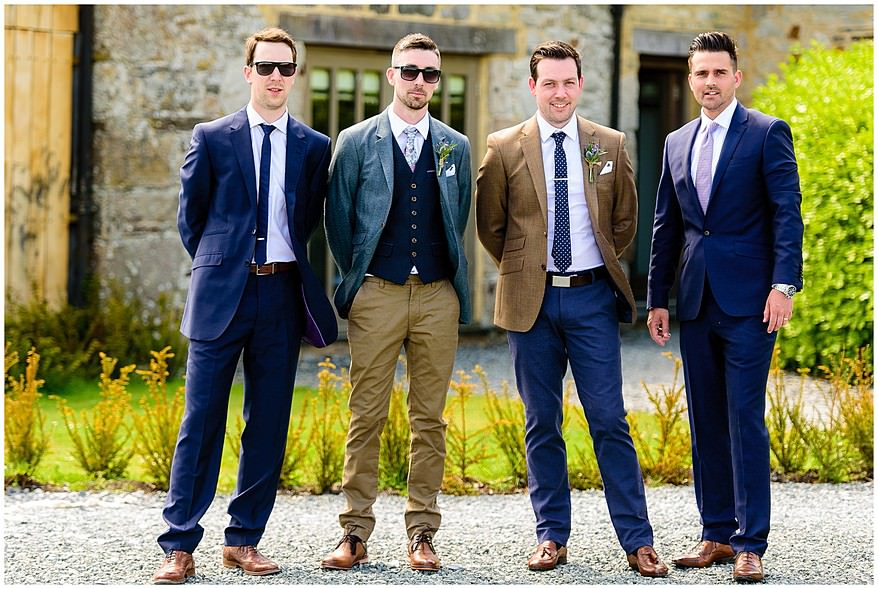 Groom and his bestmen at Trevenna Barns