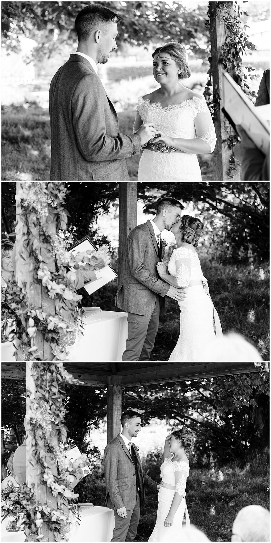 Exchange of the wedding rings under the arbour at Trevenna barns